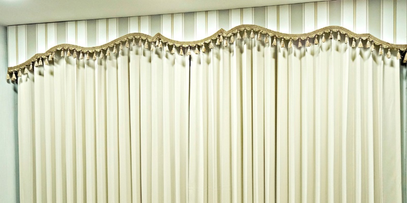 Cream Pleated curtain