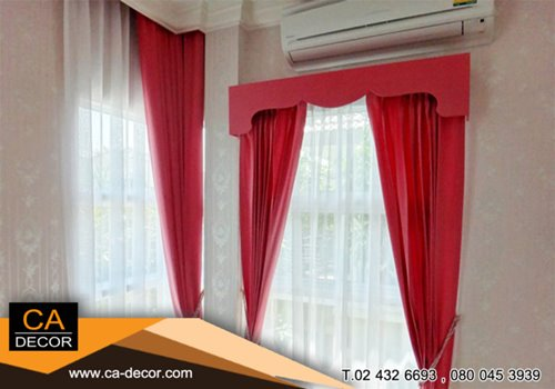 Fresh pink pleat curtain