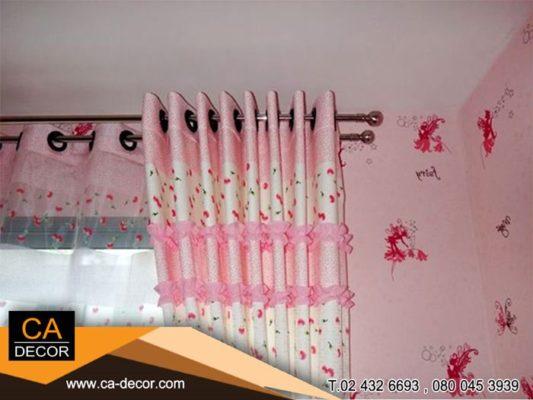 ผ้าม่านตาไก่ ห้องนอน ระบายผ้า สีชมพู