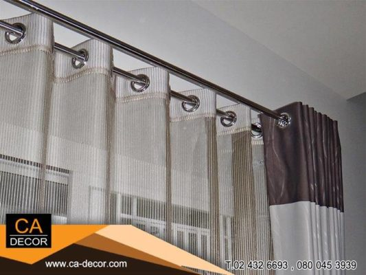 Eyelet curtains Two-tone-1