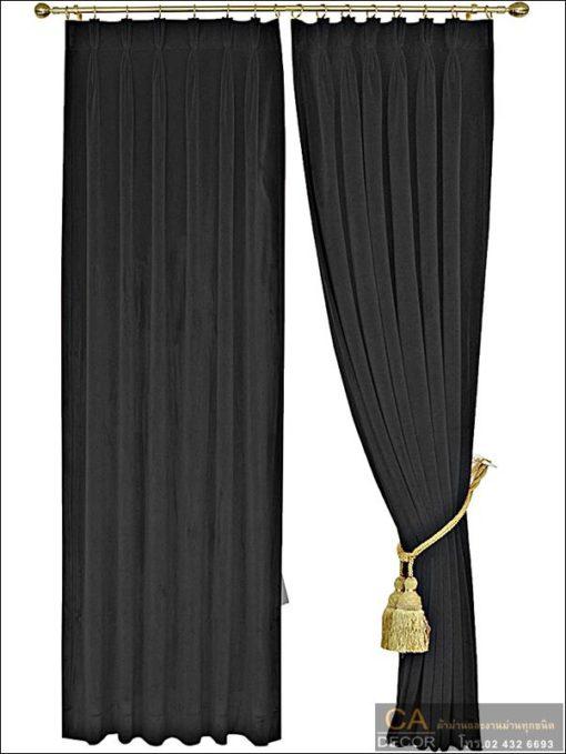 ผ้าม่านจีบ กำมะหยี่ สีดำ 30011-120