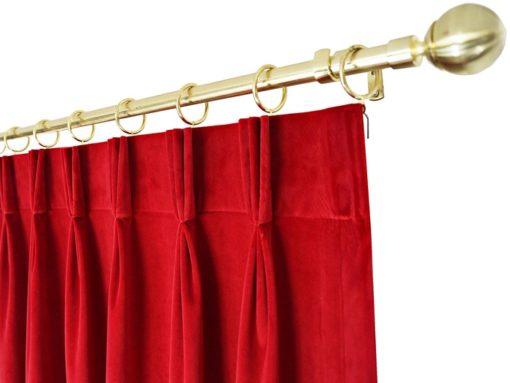 ผ้าม่านจีบ สีแดง ผ้ากำมะหยี่ รางทอง